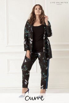 Live Unlimited Bird Print Stripe Side Panel Trouser