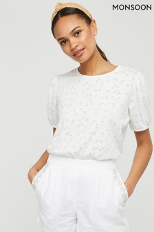 Monsoon Cream Petunia Puff Sleeve T-Shirt