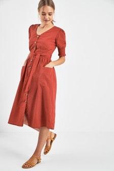 Puff Sleeve Button Dress