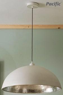 Pacific Matte Cream & Silver Leaf Dome Pendant