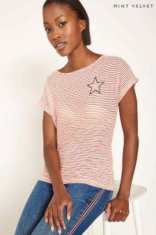 Mint Velvet T-Shirt mit Ausbrennermuster und Streifen