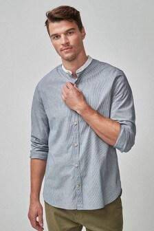 Stripe Grandad Collar Long Sleeve Shirt
