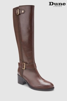 Dune London Brown Block Heel Knee High Boot