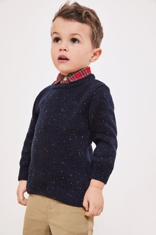 Nep Jumper With Mock Shirt Collar (3mths-7yrs)