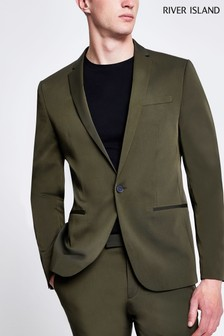 River Island Skinny Fit Khaki High Shine Suit Jacket