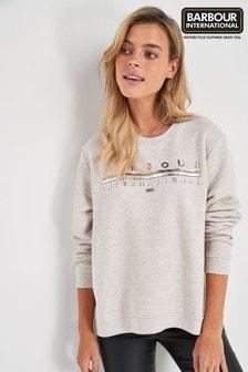 Barbour® International Oatmeal Metallic Logo Doran Sweatshirt