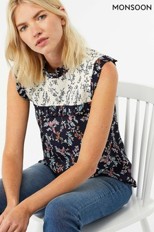 Monsoon Blue Tamiko Print Sleeveless Top