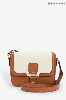 Warehouse Tan Linen Detail Cross Body Bag