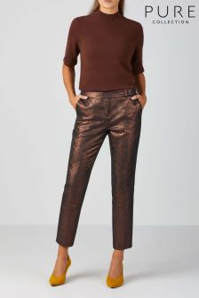 Pure Collection Bronze Metallic Ankle Length Trouser
