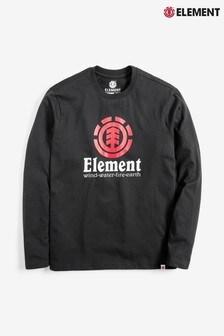 Черная детская футболка с длинными рукавами Element Vertical