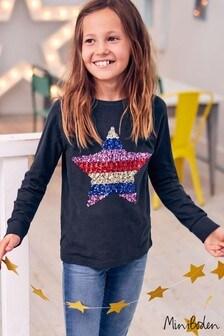 Boden Navy Sequin Appliqué T-Shirt