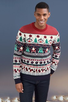 Christmas Pattern Crew Neck Jumper