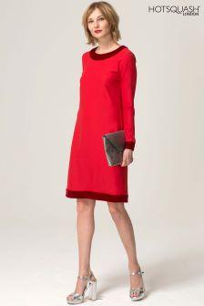 Czerwona luźna sukienka z długim rękawem i aksamitną wstawką HotSquash