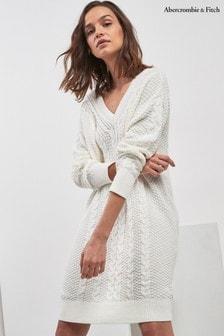 Abercrombie & Fitch Kleid mit Zopfmuster, grau