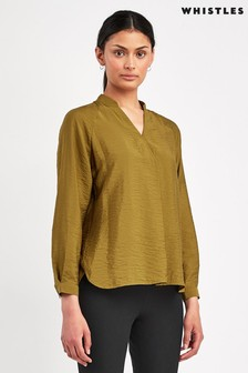 Whistles Olive Dylan Long Sleeve Blouse