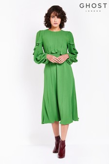 Ghost London Green Niamh Satin Back Crepe Dress With Ruffle