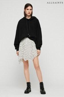 AllSaints Black/White Pleated Polka Dot Skirt
