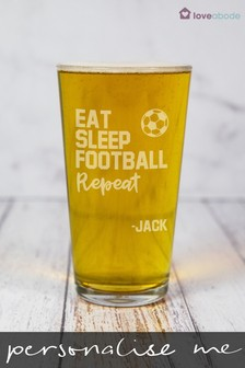 Personalised Football Pint Glass by Loveabode
