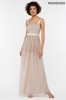 Cielista, długa sukienka z tiulu ze zdobieniami Monsoon Leila