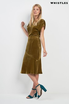 Whistles Gold Velvet Dress