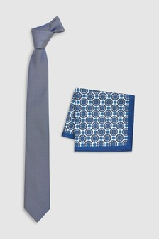 Textured Tie With Pattern Pocket Square