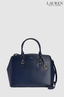 7b1f7148c3 Polo Ralph Lauren® Navy Leather Satchel Bag