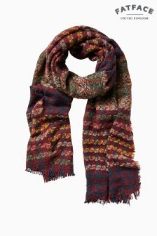 FatFace Purple Midweight Gingham Scarf