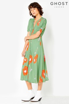 Ghost London Green Printed Flo Tea Dress