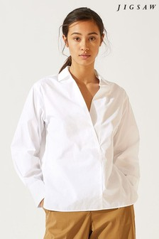 Jigsaw White Cotton Poplin Open Neck Shirt