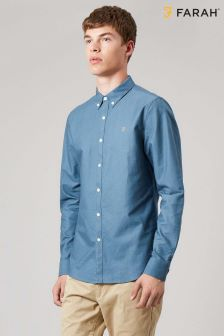 Farah Blue Brewer Slim Long Sleeve Shirt