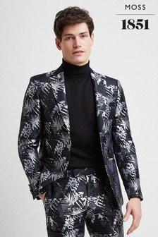 Moss London Skinny Fit Navy Safari Blazer