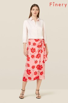 Finery London Pink Ida Floral Knot Detail Skirt