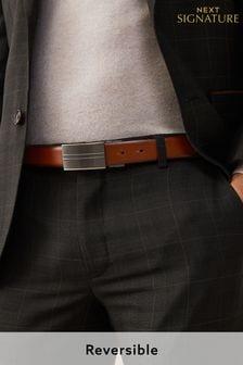 Signature Reversible Italian Leather Plaque Belt