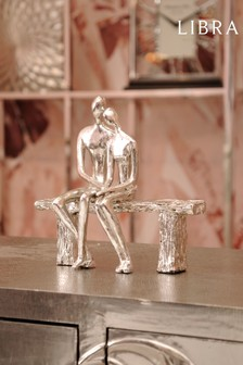 Libra Silver Bench Couple Sculpture