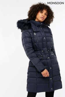 Monsoon Blue Hallie Long Padded Coat