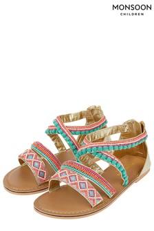 Monsoon Multi Nadia Beaded Pom Pom Sandal