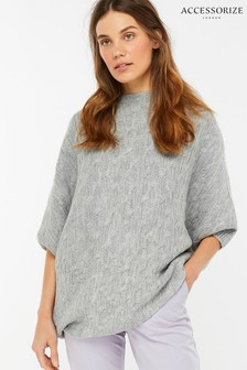 Accessorize Grey Cable Asymmetric Poncho