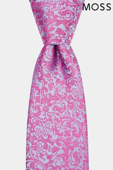 Moss 1851 Pink/Blue Floral Swirl Tie