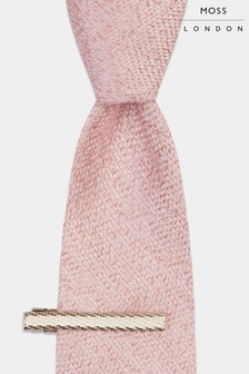 Moss London Pink Soft Handle Semi Plain Tie With Clip