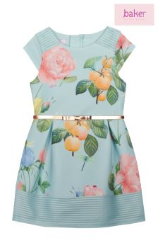 baker by Ted Baker Blue Distressed Rose Scuba Dress