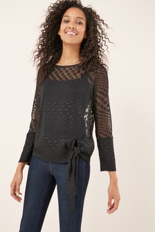 Tie Side Long Sleeve Top