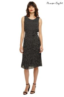 Phase Eight Black Buttermilk Kata Spot Pleat Dress
