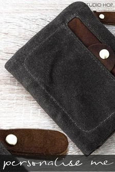 Personalised Waxed Cotton Wallet by Studio Hop