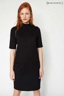 Warehouse Black Ponte Pocket Mini Dress