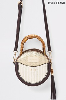 561d44e79 River Island Red Bamboo Handle Circle Cross Body Bag
