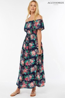 Accessorize Blue Dreamweaver Frill Bardot Maxi Dress