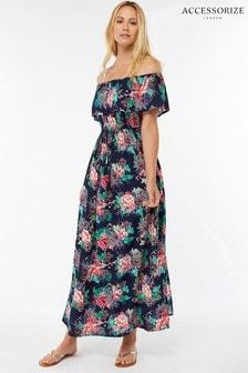 Rochie lungă bardot cu franjuri Accessorize Dreamweaver albastră