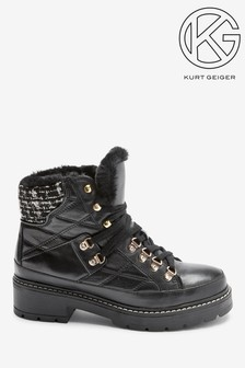 Kurt Geiger London Black Roman Hiker Boots