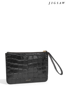 Jigsaw Black Nova Croc Leather Clutch