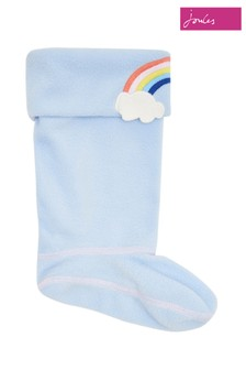 Joules Blue Smile Girls Character Welly Socks